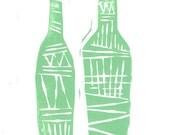 Linocut Print - Kitchen and Bar Decor - Tribal Wine Bottles Kitchen 5 x 7 Block Print - 1-1002