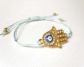 Wax Cord Friendship Bracelet, Gold Hamsa Bracelet, Blue Cord Bracelet, Hamsa Hand Bracelet UK