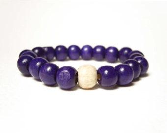 Wooden Bead Bracelet, Beaded Purple Bracelet, Stretch Bracelet, Color Block Jewelry UK