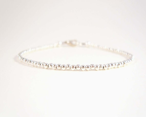 Simple Silver Bracelet Thin Bracelet Silver Bead Bracelet