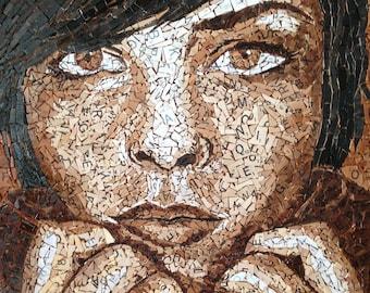 Sepia Scrabble Tile Mosaic