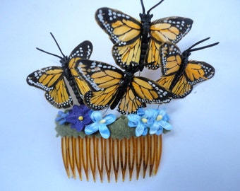 Monarch Butterfly Hair Comb, Weddings, Music Festivals, Whimsical Accessory