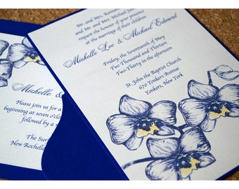 Orchid Watercolor Flower Wedding Invitation - Watercolor with Orchid Wedding Invitation - Orchids Watercolor Wedding Invite