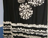 Shower Curtain Custom Made Designer Fabric Ruffles and Flowers Black, White  Damask, Stripes, Dots Check Checker