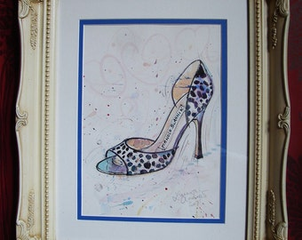 ORIGINAL SHOE PAINTING Watercolour By Laura Andrew, Manolo Blahnik shoes