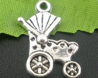 Baby Carriage Charms Silver 10pcs 19x12mm- Ships IMMEDIATELY from California - SC459