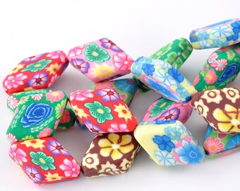 16 Clay Beads - Rhombus - Random Colors and Flower Patterns - 27x18mm - 1 Strand - Ships IMMEDIATELY from California - B559
