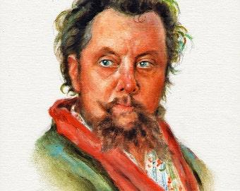 Original Portrait Painting MUSSORGSKY Musician Art OIL on Canvas Signed Composer