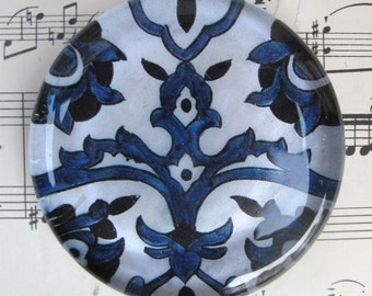 """Blue and White Delft Antique Tile Glass Paperweight Vintage Blue White China Gift Idea Home Decor Office Decor 2 3/8"""" Diameter 1/2"""" thick"""