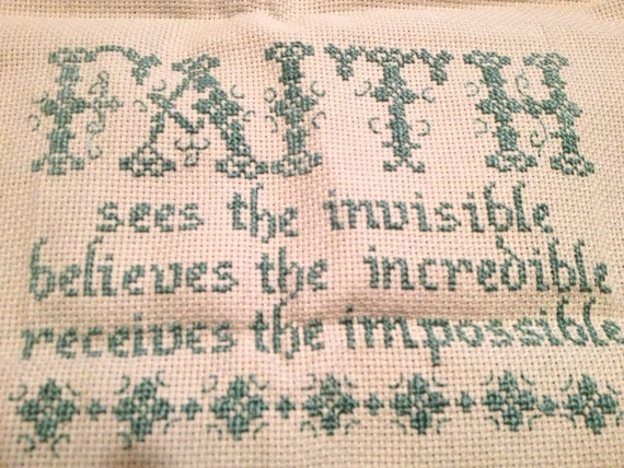 2 Completed Inspirational Cross Stitch Pieces-Faith & Psalm 121:5,8