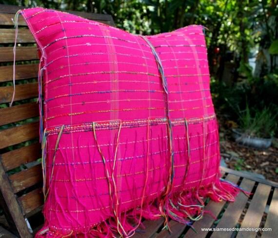 Large Floor Pillow / Cushion in Ethnic Karen Woven Fringed