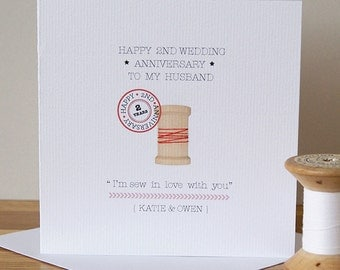 Second 'Cotton' Wedding Anniversary Card