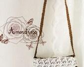 Cottage Little Bag Corn Fiber Bag Whimsical Lace Embellished Bag Crossover Woven Bag Brown Color .. Amor the Inspired Collection ..