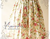 Floral Skirt Vintage Inspired Shabby Chic Skirt Blue with Pink Flower Sweet Skirt -Size S-M-