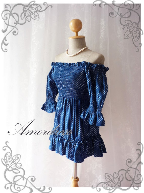 Vintage Summer Girl - Hot Spring Summer Dark Blue Dolly Tunic or Mini Dress Party Holiday Date Beach Garden Sweet Sexy Tunic Dress -XS-S-