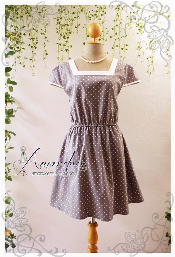Vintage inspired dress gray dot dress tea party garden cocktail dress