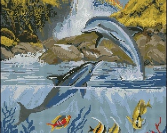 Instant Download Counted Cross Stitch Chart PDF Pattern N48ld - Dolphins