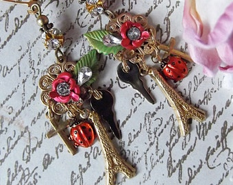 Rose, Eiffel Tower, Key, Cross, Ladybug and Rhinestone Brass Key to Paris Charm Earring