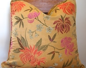 Gold Floral Asian Pillow Cover Size 20x20