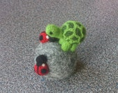 Turtle and ladybugs on a rock needle felted ornament miniature animals gift under 25