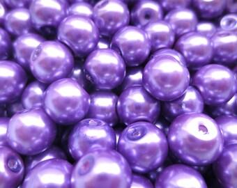 20 Pcs - Purple Glass Pearl Beads - 8mm Diameter
