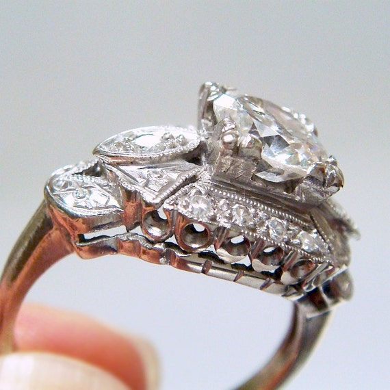 Must go!!  1.38ct Art Deco Diamond 14k Engagement / Right Hand Ring - GORGEOUS