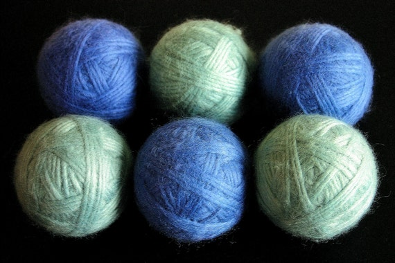 Felted Wool Dryer Balls Eco-friendly Blue Gray Earth Colors set of 6