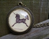 Unicorn Necklace--Handmade Vintage Dictionary Print Cabochon--Valentines Gift for Her