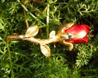 Petite Gold Toned Red Rose Pin