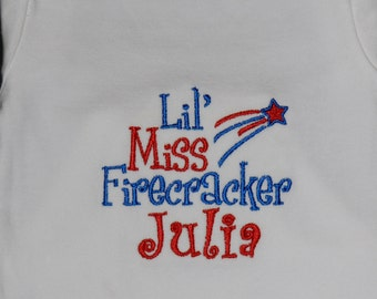 Lil' Miss Firecracker Shirt / Personalized / 4th of July / Independence Day / Patriotic