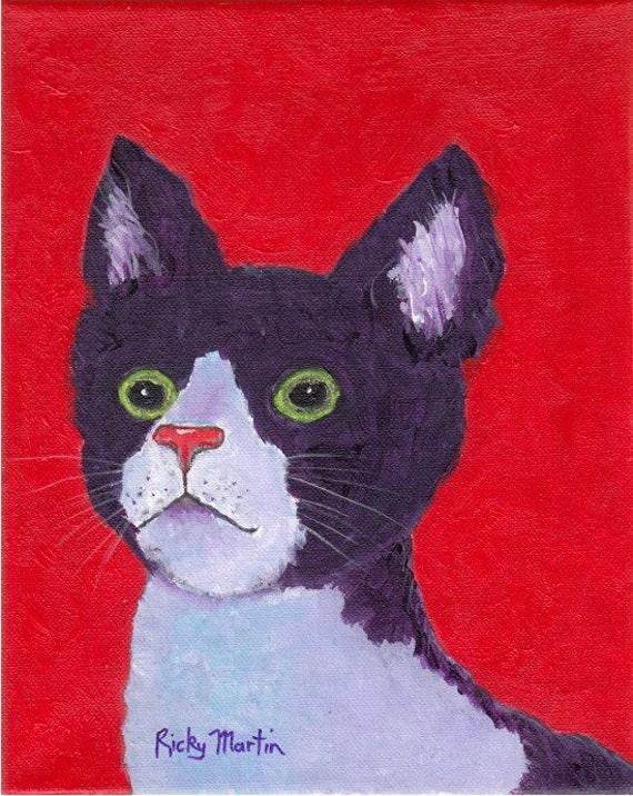 Cat, Cornish Rex, Teenager, Kid's Room, Nursery  Decor -  FREE SHIPPING - Original Acrylic  Painting by  ebsq Artist Ricky Martin