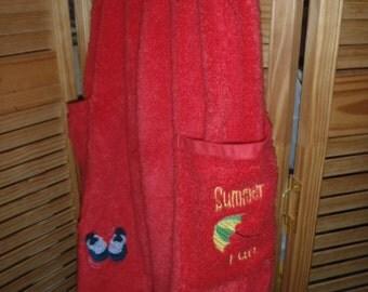Red Beach Towel Pants 3/4 T Flip Flops Beach umbrella
