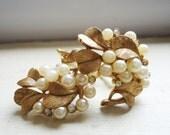 Retro Floral Rhinestone Pearl Earrings