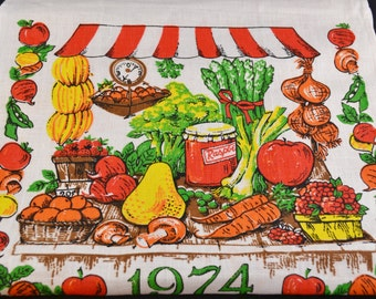 Vintage Linen Towel, 1974 Calendar Tea Towel, Fruit Towel, Vegetable Stand by HBI, Kitchen Decor, Wall Hanging, Orange, Green, Yellow, Brown
