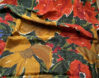 Vintage 1960s VERA NEUMANN Poppy Floral Scarf with Red, Blue, Yellow and Brown Colours