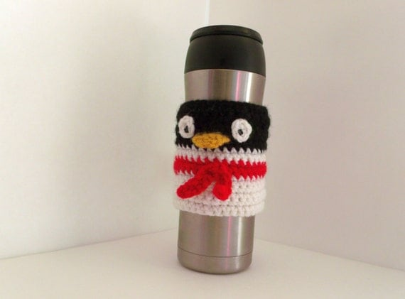 Coffee Mug Cozy Sleeve PATTERN - 4 PATTERNS, Instant download! - basic adjustable sleeve, basic non adjustable sleeve, and Penguin sleeves
