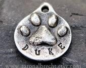 Pet ID Tag - Dog Tag - Pet Tag - Dog Name Tag - Custom Handmade Paw Print