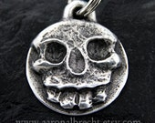 Skull Dog Tags for Dogs Personalized Pet ID Tag Custom Dog Collar Tag Handmade Pewter Skull