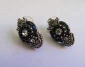 Vintage Art Deco Black Pierced Earrings