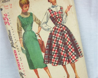 Vintage 1950s Dress Sewing Pattern, Simplicity, 4808