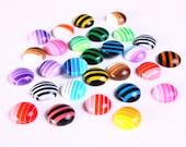 30 flat round resin cab cabochon mixed color 10mm 30pcs (1075)