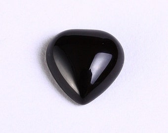 4 black agate heart gemstone cabochons 10mm 4pc (1015) - Flat rate shipping