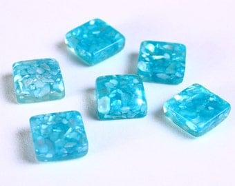 6 Blue square resin with shell cabochon 10mm 6pcs (1068) - Flat rate shipping