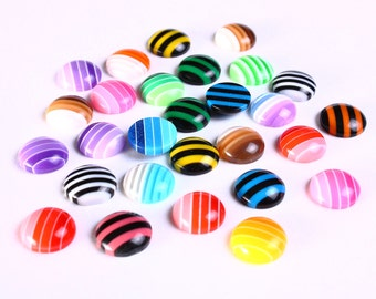 10mm flat round cabochons - 10mm Mixed color cabochons - 10mm striped cabochons - strips cabochons (1075) - Flat rate shipping