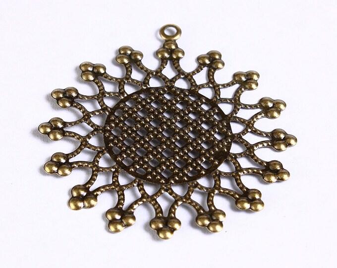 54mm Antique brass large flower filigree charm - Antique brass round pendants - Sun pendant - 54mm x 50mm (903) - Flat rate shipping