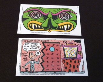 Pee Wee's Playhouse  (2) 1988 Vintage Trading Cards 1980s Pee Wee Herman Secret Disguise Monster Mask Jambi Secret Compartment Paul Reubens