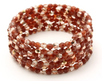 Memory Wire Bracelet - Copper, Gold and Brown mix