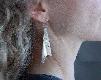 Metalwork Earrings Statement Earrings Mixed Metal Earrings Art Jewelry Statement Jewelry Metalwork Jewelry