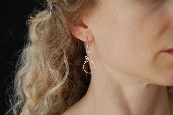 Diamond Earrings 14K Gold Earrings - Luxury Jewelry High Fashion Solid Gold Earrings - Diamond Jewelry Bridal Earrings