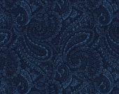 """EOB Clearance, 25"""" of 108"""" Fabric, Quilt backing, Paisley Fabric, Blue Fabric, Navy Blue Fabric, Extra Wide Fabric, 01453"""
